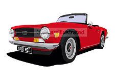 TRIUMPH TR6 CAR ART PRINT (SIZE A3). CHOOSE YOUR COLOUR, ADD YOUR REG PLATE