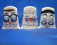 Birchcroft Thimbles -- Set of Three -- Goggles Faces ( with moving eyes )