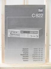 NOTICE MANUEL ORIGINAL OPERATING INSTRUCTIONS DUAL C822 PLATINE CASSETTE K7 HIFI