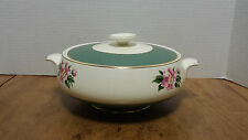 Empire Green Covered vegetable Homer Laughlin Green/pink rose gold trim, '50's