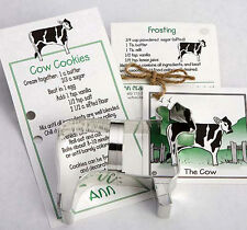 NEW Ann Clark Tin Cow Farm Cookie Cutter with Cookie & Frosting Card Recipe USA