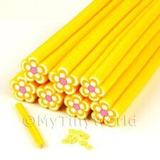 Caña de Flor de color amarillo al arte en uñas y joyas Unc15