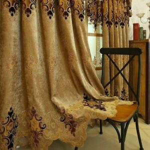 Chenille Embroidery Curtains Cloth Pelmet Voile Tulle Window Screen Drape Luxury