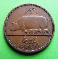 WWII 1942 Irish Half Penny Coin Pig And Piglets Celtic Harp Old Ireland Éire