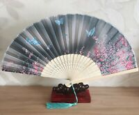 New Chinese Japanese Oriental Midnight Grey with Flowers Wood Hand Fan ccfan89