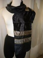 ARMAND THIERY $48.00 BLACK VELVET VISCOSE SCARF WITH SEQUINS, NEW