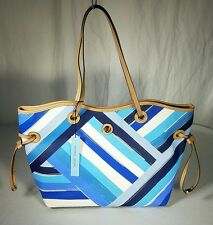 NWT Antonio Melani Faux Leather Painted Stripe Blue Multi Tote MSRP  $119