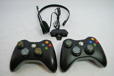 Xbox 360 Black Wireless Video Game Controller Bundle Lot of 2 w/ Headset