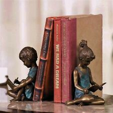 SPI Home Pair of Boy Writing and Girl Reading Bookends Brass Bronze Patina