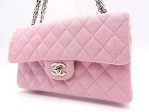 CHANEL Matelasse 23 W Chain W Flap Shoulder Bag Cotton Baby Pink A01113 V-5991
