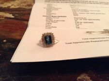 Blue Topaz And Diamond Ring 14K Gold Band Appraised Value $1325.00