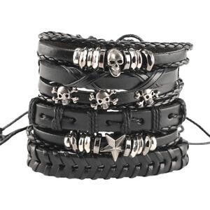 1set/6pcs Vintage Leather Bracelets For Men Steampunk Bracelet Bangle Jewelry