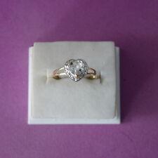 SUPERB 9CT YELLOW GOLD HEART NATURAL AQUAMARINE & DIAMOND RING SIZE O IN  BOX