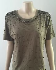 WITCHERY - Statement Embellished Beaded Short Sleeve Khaki Top T-shirt X-SMALL