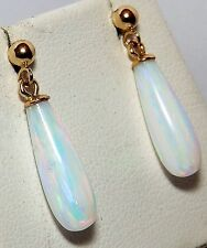 BEAUTIFUL 9 CT YELLOW GOLD FIERY OPAL PEAR DROP DROPPER STUD EARRINGS