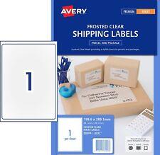 3 X Clear Matt Avery 936008 Mailing Labels Inkjet 1 per Sheet 25 Sheets 1 up