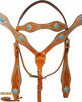 BLUE RHINESTONE BREAST COLLAR HEADSTALL REINS NEW WESTERN HORSE LEATHER TACK SET