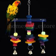 Colorful Parrot Pet Bird Macaw Hanging Chew Bells Wood Blocks Swing Wooden Toy