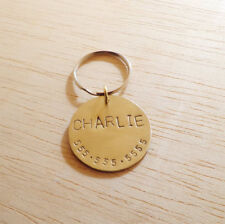 Round Elegant, Stamped Dog Tag, Pet ID, Name Tag, Durable, SIMPLE pet ID