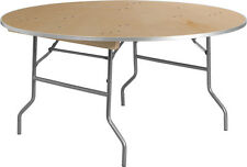 (2 Pack) 60'' Round Heavy Duty Birchwood Folding Banquet Table with Metal Edges