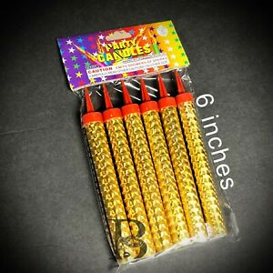 Sparkling Candles Birthday Candles Party Wedding Sparklers Gold Candles 6""