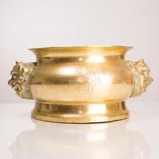 Chinese Bronze Large Incense/Censer Pot/Bowl LG Foo Dog Handles Antique 19 c.
