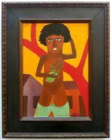 Waldomiro de Deus: Boy & Flowers 72/ Brazilian Latin American Naive Art Folklore