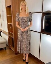 Holly Willoughby & Other Stories Puff Sleeve Leopard Print Midi Dress size 8 36