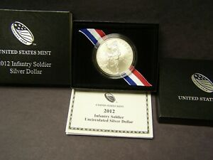 2012-W Infantry Soldier Commemorative UNC Silver Dollar with Box & COA