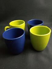 Corelle Lime Green  Blue Stoneware Mugs, Set of 4 Coffee Mugs