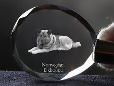 Norwegian Elkhound, Dog Crystal Round Keyring, High Quality, Crystal Animals Ca