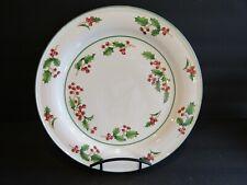"Sango WHITE CHRISTMAS~Round Serve~Chop Plate~12""~HOLLY & BERRIES~Green Trim"