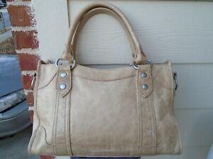 Authentic FRYE beige leather large satchel handbag