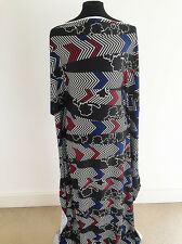 Printed Striped Chevron/Floral on Polyester/Viscose Crepe Jersey Fabric