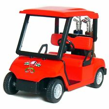 "New 4.5"" Kinsfun Golf Cart w/ Clubs Diecast Metal Model Caddy Toy Car Gift Red"