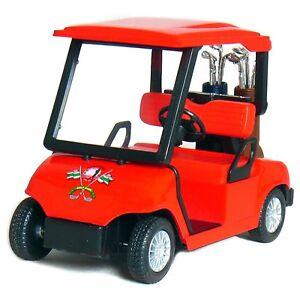 "New 4.5"" Kinsfun Golf Cart w/ Clubs Diecast Metal Model Caddy Toy Car Gift Red"