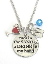 Toes In The Sand And Drink In The Hand Necklace Beach Girl Charm Cruise Jewelry