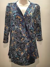 Marks & Spencer Per Una 3/4 Sleeve Wrap Front Top Size UK 16 Fit AU 14 16