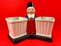 Vintage Hand Painted Double Sided Dutch Boy Planter ~ Made In Japan