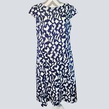 Anne Klein Womens Blue White Textured Crinkled Cap Sleeve Shift Dress 12 kfp1