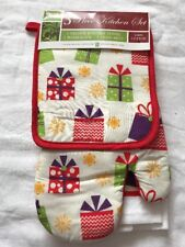 3 Pc Kitchen Towels Oven Mitt Pat holder Christmas Holiday Set Cotton