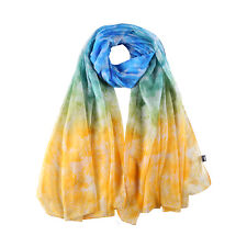 Extra Long and Wide Chiffon Scarf Beach Scarf Blue Yellow Floral Print CHD324