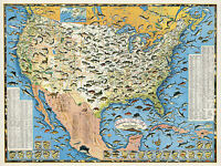 Pictorial Sportsmen's Fishing Map United States Fishermen Gifts Wall Poster