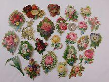 Lot of 25 Embossed Victorian Die-Cuts Flowers Miniatures Edelweiss Roses CA60