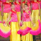 + BAG PAIRS 19.5inches BELLY DANCE 100% SILK FAN VEILS yellow pink free shipping