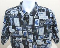 Columbia Men's Shirt Size XL Short Sleeve Button Front Fishing Print Camp Hiking