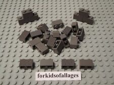 25 Lego 1x2 Bricks Grill Profile Old Dark Gray Castle Wall Car Grille Parts