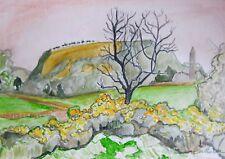 Gorse at GLENDALOUGH County Wicklow Ireland Watercolor Painting 10x14 Sullivan
