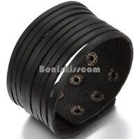Wide Black Leather Multi Belt Men's Rock Cuff Adjustable Wristband Bracelet