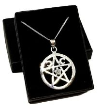 Pentacle Moonstone Crystal Triple Moon Pentagram Necklace Pagan Wicca Gift Boxed